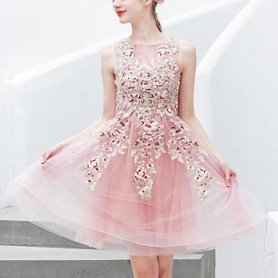 【ANGEL】肌透けチュールレースパールラインストーンノースリーブ背中編上げAラインミニドレス【送料無料】高品質 ピンク ロングドレス