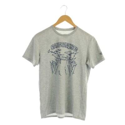 【中古】ザノースフェイス THE NORTH FACE プリント Tシャツ カットソー 半袖 ロゴ クルーネック M グレー NT31389 /AA ■OS メンズ 【ベクトル 古着】