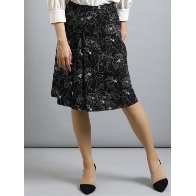 【タカキュー】 花柄タックフレアースカート レディース ブラック M TAKA-Q