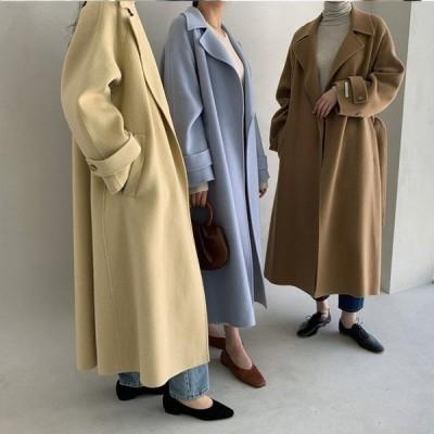 2020 冬新作 無地 ウール コート ジャケット ロング丈 アウター ブルゾン カーディガン パーカー 4色 ベージュ ブルー イエロー ブラック
