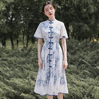 歌のその尼の中国風のqinghua ciチャイナドレスの改良ワンピースの日常の復古少女の若いレースのスカートの夏の服