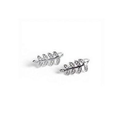 Richight シンプル小枝リーフモチーフにのフックピアス、可愛らしい純銀製葉のイヤリング、sv925 leaf pierceシルバー森ガールっぽい