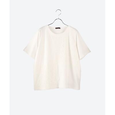 <green nout(Women/大きいサイズ)/グリーンノート> 21/-天竺×チュールレースTシャツ オフホワイト(900)【三越伊勢丹/公式】