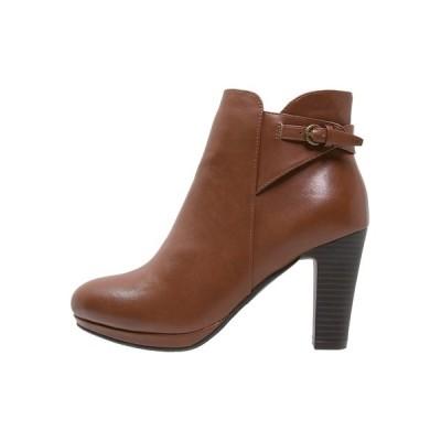 アンナフィールド ブーツ&レインブーツ レディース シューズ High heeled ankle boots - cognac