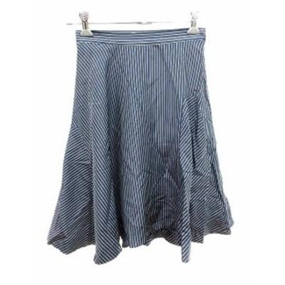 【中古】ソーノ SONO スカート フレア ひざ丈 ストライプ 1 紺 ネイビー 白 ホワイト /YK レディース