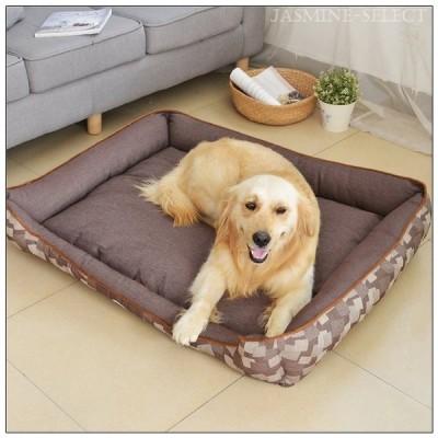 ペット用ベッド スクエアカドラー 寝床 ソファー 4点セット シーツ 毛布 骨型枕 犬 イヌ 猫 ネコ 通年用 室内用 角型 長方形 取り外し可 水洗