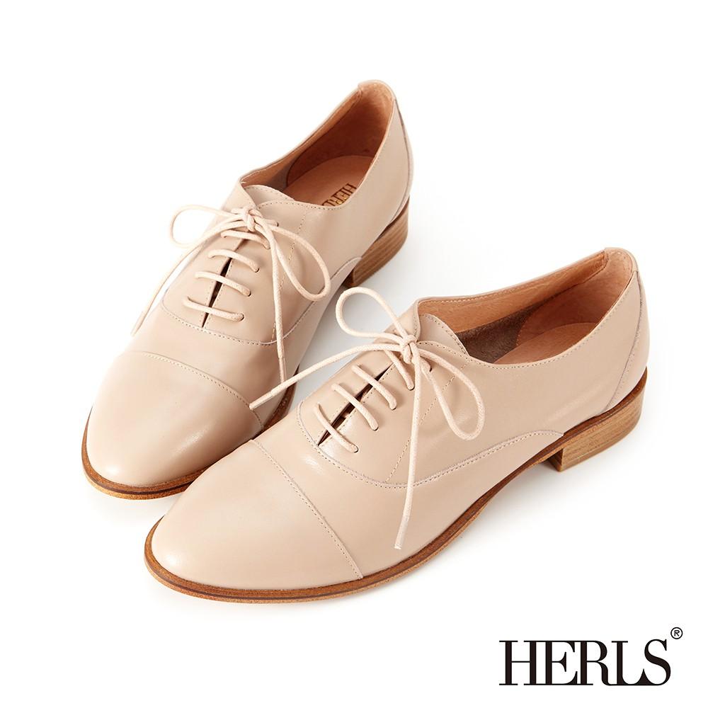 HERLS牛津鞋 全真皮簡約紳士牛津鞋 煙燻粉