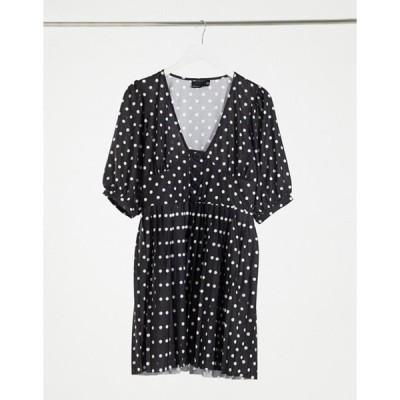 エイソス レディース ワンピース トップス ASOS DESIGN mini short sleeve pleated dress with button detail in black and white polkadots