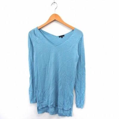 【中古】セオリー theory ニット セーター Vネック ロング シンプル リブ袖 2 ブルー /ST11 レディース 【ベクトル 古着】