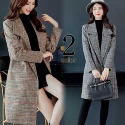 Aラインラシャコート 着痩せのチェック柄 体型カバー 開きネック ポケット付き ロングコート ジャケット 韓国ファッション レデ