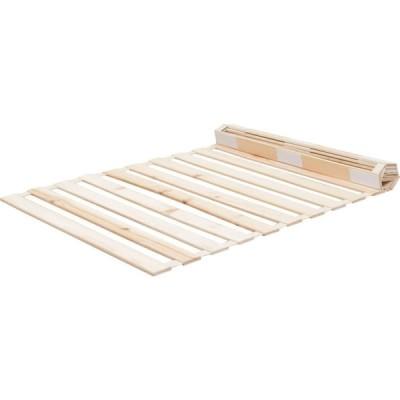 アイリスプラザ すのこマット 檜 ロール式 シングル 天然木 折りたたみ ベッド通気性