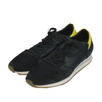 PHILIPPE MODEL スエード 切替 スニーカー 靴 ブラック×イエロー サイズ:42 (四条中之町店) 210108