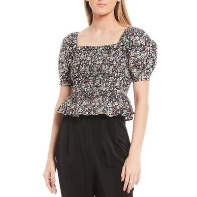 シュガーリップス レディース シャツ トップス Floral Print Square Neck Puff Sleeve Smocked Top Black/Multi