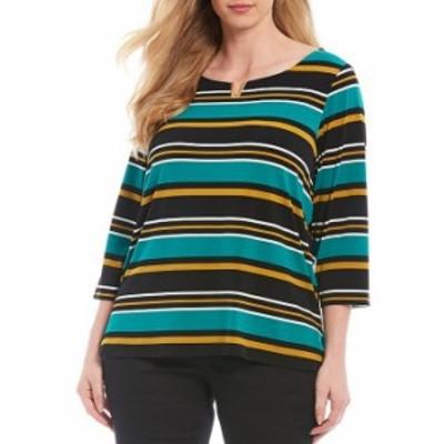 カルバンクライン レディース Tシャツ トップス Plus Size Stripe Print Notch Round Neck Hardware Detail 3/4 Sleeve Top Jungle/Black