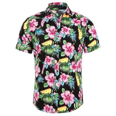 uxcell アロハシャツ メンズ ハワイアンシャツ 半袖 花柄 ボタンダウン ファッション 黒赤花柄 50