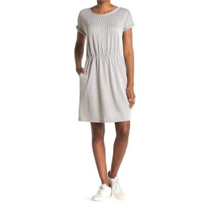 タッシュプラスソフィー レディース ワンピース トップス Striped Short Sleeve Pocket Dress GRY/IVORY