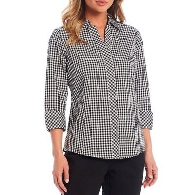 インベストメンツ レディース シャツ トップス Petite Size Taylor Gold Label Non-Iron Y-Neck 3/4 Sleeve Button Front Gingham Shirt