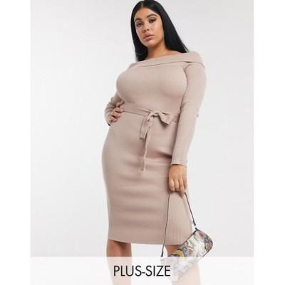 ミスガイデッド レディース ワンピース トップス Missguided Plus bardot knitted midi dress in beige