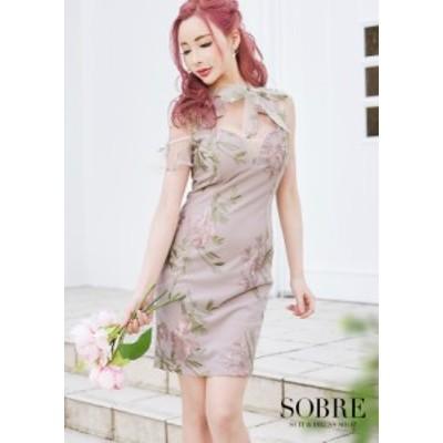 キャバドレス キャバ ドレス 大きいサイズ ソブレ ミニ ワンピ 2102101 フラワー刺繍リボンワンピース