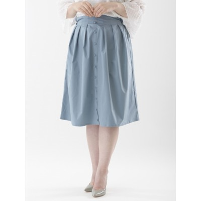 【大きいサイズ】薄手タック入フロントボタン付スカート(ウエスト後ろゴム仕様)(膝丈) 大きいサイズ 大きいサイズ スカート レディース