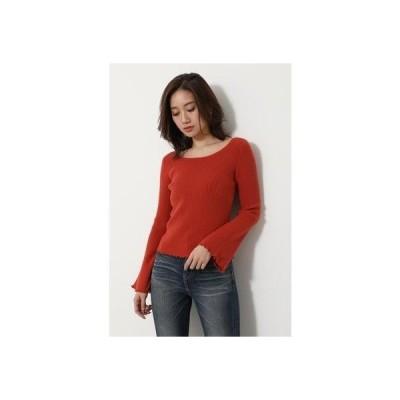 リエンダ rienda Bell sleeve RIB Knit TOP (オレンジ)
