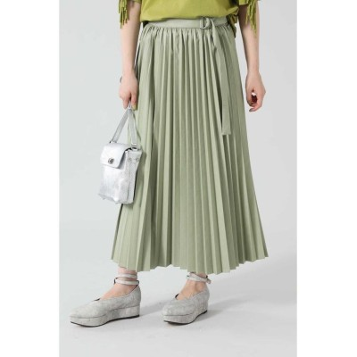 (ROSE BUD/ローズバッド)フェイクレザープリーツスカート/レディース カーキ