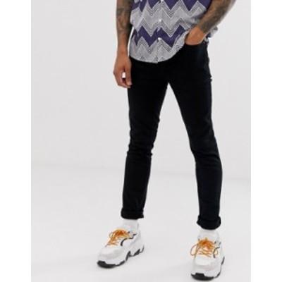 トップマン メンズ デニムパンツ ボトムス Topman skinny jeans in black Black