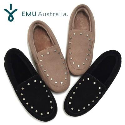 EMU エミュー モカシン W12058 CROSSLEY クロスリー スタッズ スリッポン シープスキン ムートン ボア フラットシューズ EMU Australia エミュ
