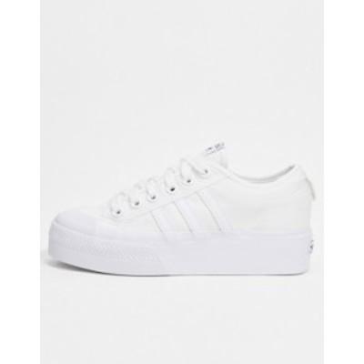 アディダス レディース スニーカー シューズ adidas Originals Nizza platform sneakers in white White