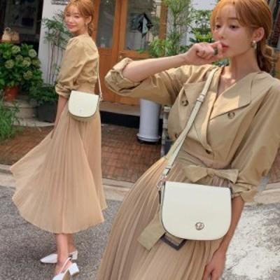 ワンピース レディース トレンチワンピース プリーツワンピース ロング プリーツスカート 長袖 カシュクール 大人可愛い 韓国服