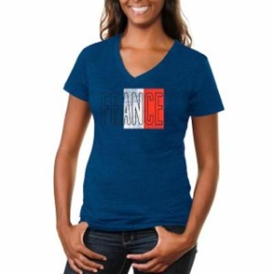 Fanatics Branded ファナティクス ブランド スポーツ用品  France Womens Flag Tri-Blend V-Neck T-Shirt - Royal Blue
