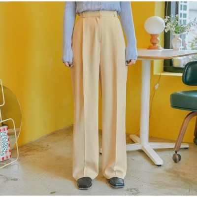 common unique レディース パンツ Pleated Wide-Leg Long Slacks