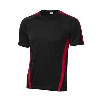 SPORT-TEK Men's T-Shirt, Black/True red, XL