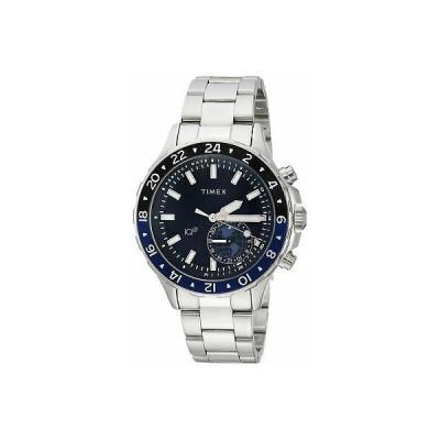 腕時計 Timex Mens IQ+ Move Multi-Time Silver-Tone/Blue Stainless Steel Bracelet Watch