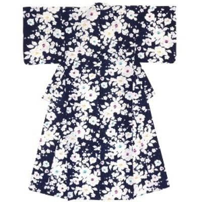 レディース浴衣 bonheur saisons ボヌールセゾン 紺 ネイビー 椿 つばき 花 フラワー 綿 変わり織り 夏祭り 花火大会 女性用 仕立て上が