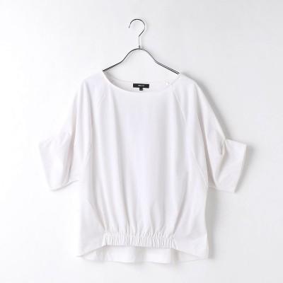 コムサイズム COMME CA ISM デザインスリーブ 裾ギャザー カットソー(ホワイト)