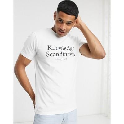 ノーレッジコットンアパレル Knowledge Cotton Apparel メンズ Tシャツ トップス Organic Cotton Logo T-Shirt In White ホワイト