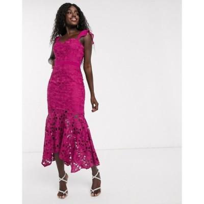 チチロンドン レディース ワンピース トップス Chi Chi London lace midi fishtail dress in fuchsia