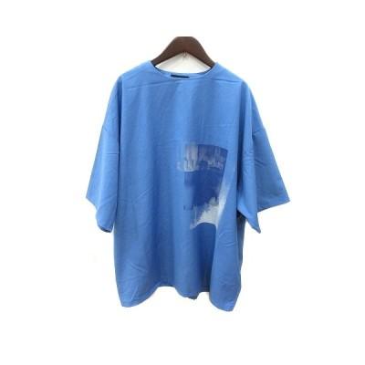 【中古】ハレ HARE シャツ ブラウス 半袖 プリント S 青 ブルー /ST メンズ 【ベクトル 古着】