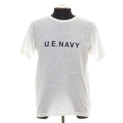 ユニフォームエクスペリメント uniform experiment white line クルーネックTシャツ U.E.NAVY サイズM(2) UF-120091 中古 古着