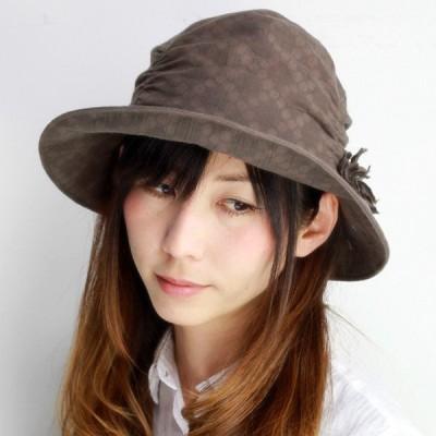 婦人 帽子 ハット レディース フラワーコサージュ付帽子 日よけ ダウン型ハット ブラウン