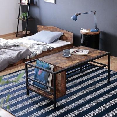 センターテーブル 収納付き 幅100cm ヴィンテージ 棚付き 収納 テーブル おしゃれ 家具 一人暮らし リビング ダイニング ブルックリン ブラウン ローテーブル