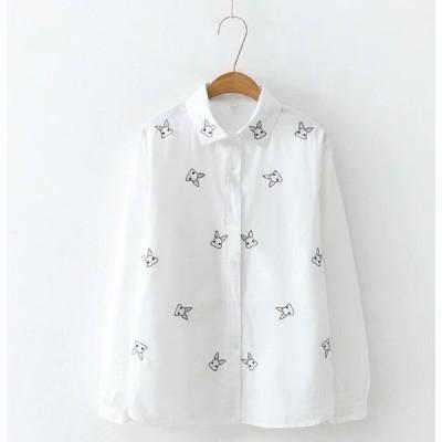 長袖ポロシャツ/長袖シャツ上着トップス綿Tシャツ兎柄刺繍エスニック風ナチュラル森ガール風カジュアル大人エレガント可愛いきれいめ二点送料無料