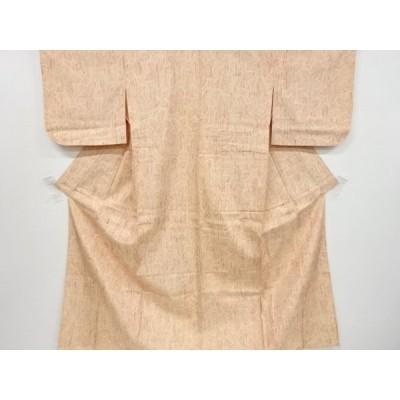 リサイクル 楓模様織出手織り縦節紬単衣着物