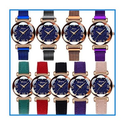 (輸入品)Yunanwa 9 Pack Women Men Watches 5pcs Leather 4pcs Magnetic Mesh Brand Wrist Watches Wholesale (Style B Magnetic Mesh Band)