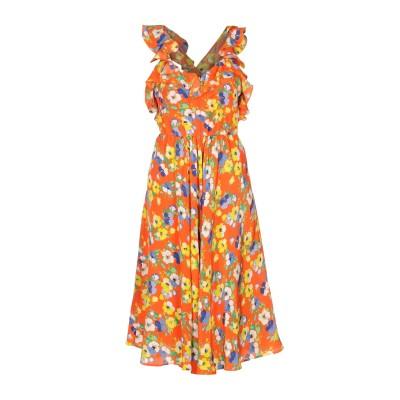エムエスジーエム MSGM 7分丈ワンピース・ドレス オレンジ 38 シルク 100% 7分丈ワンピース・ドレス