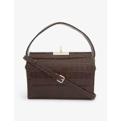 GU DE レディース ハンドバッグ バッグ Milky mini croc-embossed leather top-handle bag BROWN