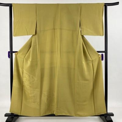 色留袖 優品 一つ紋 貝桶 組紐 抹茶色 袷 身丈157cm 裄丈62.5cm S 正絹 中古