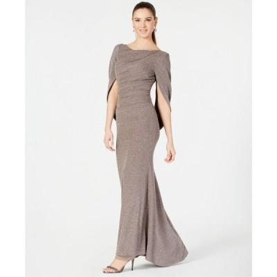 ベッツィアンドアダム Betsy & Adam レディース パーティードレス ワンピース・ドレス Metallic-Knit Draped Gown Taupe/Silver