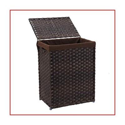 【新品未使用】Mxfurhawa Handwoven Laundry Basket Foldable Rattan Laundry Hamper, with Removable Washable Liner Bag, lid and Handles,